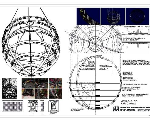 Konstruktion Leuchter Hapag-Halle Cuxhaven durch AFAC